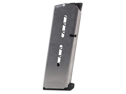 Wilson Combat Magazine with Low Profile Steel Base Pad 1911 Officer 45 ACP 7-Round Stainless Steel