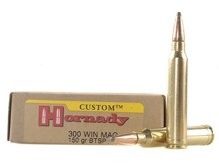 Hornady Custom Ammunition 300 Winchester Magnum 150 Grain Spire Point Boat Tail Box of 20