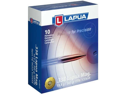 Lapua Scenar Ammunition 338 Lapua Magnum 300 Grain Hollow Point Boat Tail Box of 10