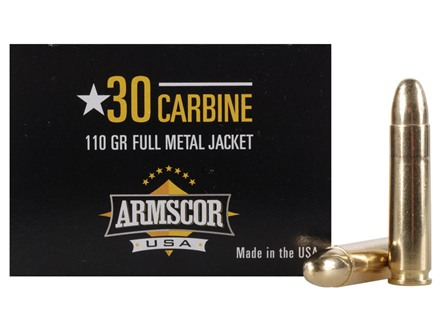 Armscor Ammunition 30 Carbine 110 Grain Full Metal Jacket Box of 50