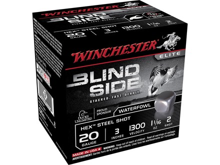 "Winchester Blind Side Ammunition 20 Gauge 3"" 1-1/16 oz #2 Non-Toxic Steel Shot"