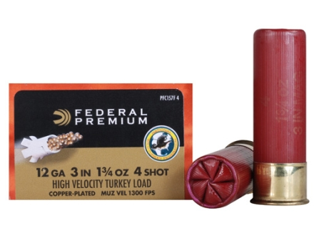 "Federal Premium Mag-Shok Turkey Ammunition 12 Gauge 3"" 1-3/4 oz #4 Copper Plated Shot High Velocity Box of 10"