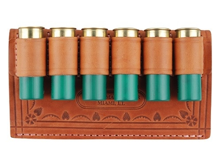Oklahoma Leather Belt Slide Shotshell Ammunition Carrier 6-Round 12 Gauge Leather Brown