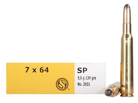 Sellier & Bellot Ammunition 7x64mm Brenneke 139 Grain Semi-Jacketed Soft Point Box of 20