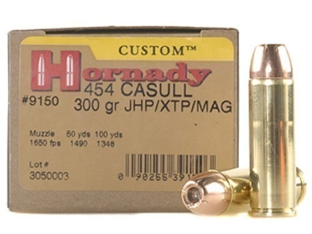 Hornady Custom Ammunition 454 Casull 300 Grain XTP Jacketed Hollow Point Box of 20