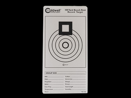 Caldwell 100 Yard Benchrest Record Target 3&quot; x 6&quot; Pack of 10 Sheets 1 per Sheet White