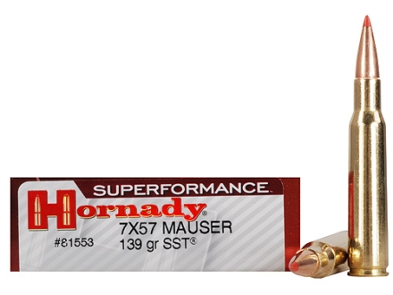 Hornady SUPERFORMANCE Ammunition 7x57mm Mauser (7mm Mauser) 139 Grain SST Box of 20
