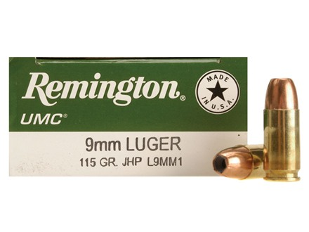 Remington UMC Ammunition 9mm Luger 115 Grain Jacketed Hollow Point Box of 50