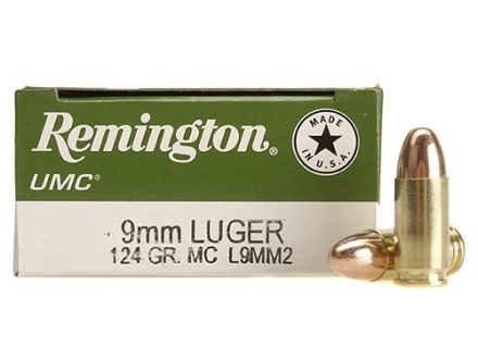 Remington UMC Ammunition 9mm Luger 124 Grain Full Metal Jacket Box of 50
