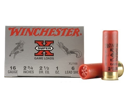 "Winchester Super-X Game Loads Ammunition 16 Gauge 2-3/4"" 1 oz #6 Shot Box of 25"