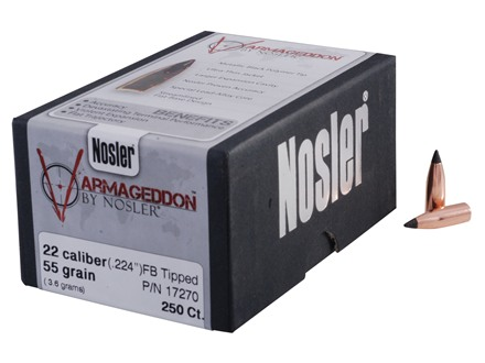 Nosler Varmageddon Bullets 22 Caliber (224 Diameter) 55 Grain Tipped Flat Base
