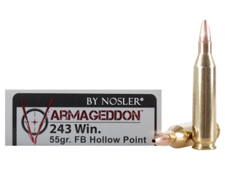 Nosler Varmageddon Ammunition 243 Winchester 55 Grain Hollow Point Flat Base Box of 20