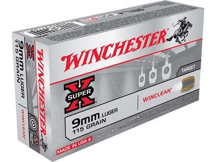 Winchester USA WinClean Ammunition 9mm Luger 115 Grain Brass Enclosed Base Box of 50