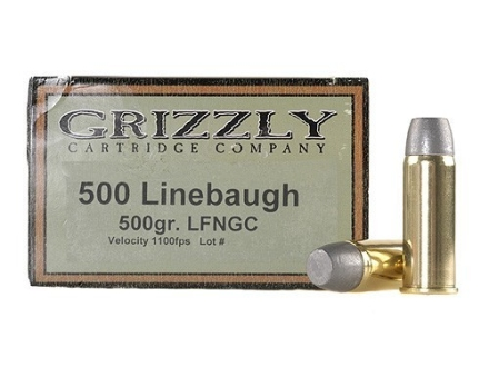 Grizzly Ammunition 500 Linebaugh 500 Grain Cast Performance Lead Long Flat Nose Gas Check Box of 20