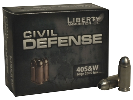Liberty USM4 Ammunition 40 S&amp;W 60 Grain Fragmenting Hollow Point Lead-Free Box of 20