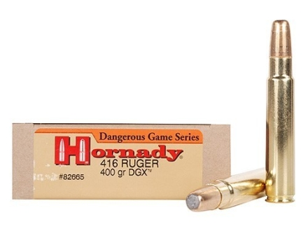 Hornady Dangerous Game Ammunition 416 Ruger 400 Grain DGX Flat Nose Expanding Box of 20