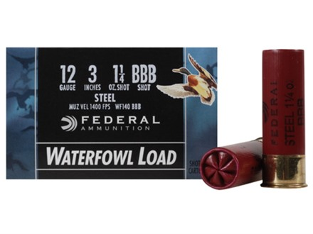 "Federal Speed-Shok Waterfowl Ammunition 12 Gauge 3"" 1-1/4 oz BBB Non-Toxic Steel Shot"
