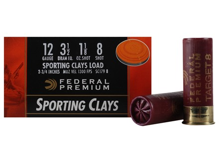 "Federal Premium Gold Medal Sporting Clays Ammunition 12 Gauge 2-3/4"" 1-1/8 oz #8 Shot"