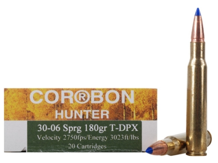 Cor-Bon DPX Hunter Ammunition 30-06 Springfield 180 Grain Barnes Tipped Triple-Shock X Bullet Lead-Free Box of 20
