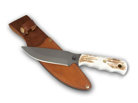 "Knives of Alaska Bush Camp Fixed Blade Knife 6"" Drop Point D2 Tool Steel Blade Stag Handle"