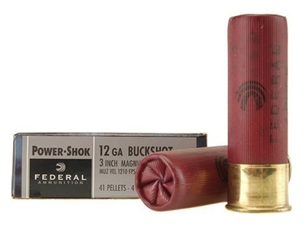 Federal Power-Shok Ammunition 12 Gauge 3&quot; Buffered #4 Buckshot 41 Pellets Box of 5