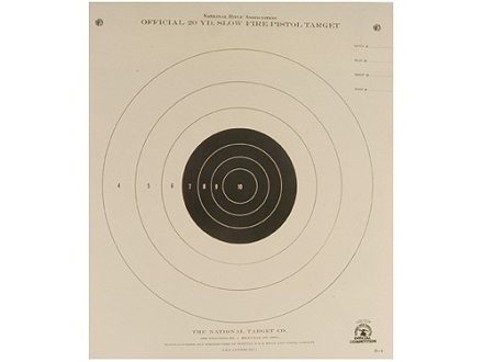 NRA Official Pistol Target B-4 20 Yard Slow Fire Paper Package of 100