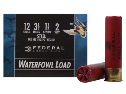 "Federal Speed-Shok Waterfowl Ammunition 12 Gauge 3-1/2"" 1-1/2 oz #2 Non-Toxic Steel Shot Box of 25"