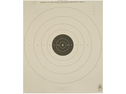 NRA Official Pistol Target B-8(T) 25 Yard Timed and Rapid Fire Tagboard Package of 100