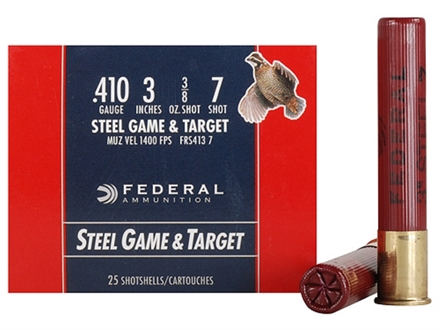Federal Game &amp; Target Ammunition 410 Bore 3&quot; 3/8 oz #7 Non-Toxic Steel Shot Box of 25
