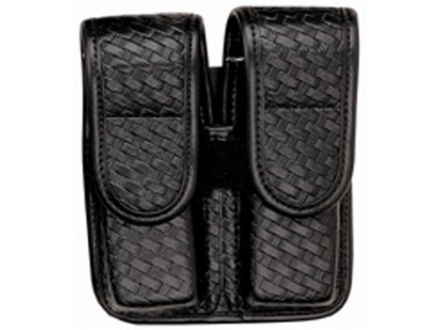 Bianchi 7902 AccuMold Elite Double Magazine Pouch Double Stack 9mm, 40 S&amp;W Hidden Snap Basketweave Trilaminate Black