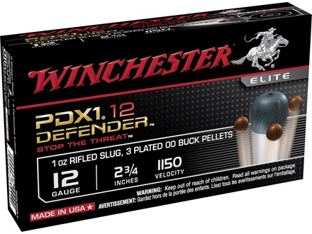 "Winchester Supreme Elite Self Defense Ammunition 12 Gauge 2-3/4"" 1/2 oz 00 Buckshot over 1 oz Slug Bonded PDX1 Box of 10"