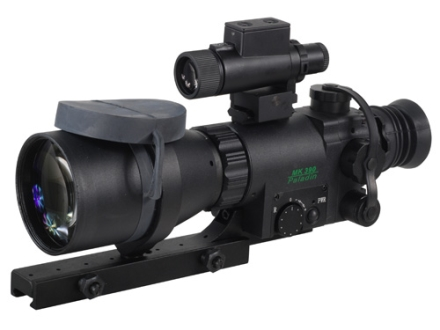 ATN Aries MK390 Paladin 1st Generation Night Vision Compact Rifle Scope 4x 90mm Illuminated Red Duplex Reticle with Integral Weaver-Style Mount Matte
