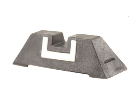 Glock Square Rear Sight 6.5mm .256&quot; Height Polymer Black White Outline