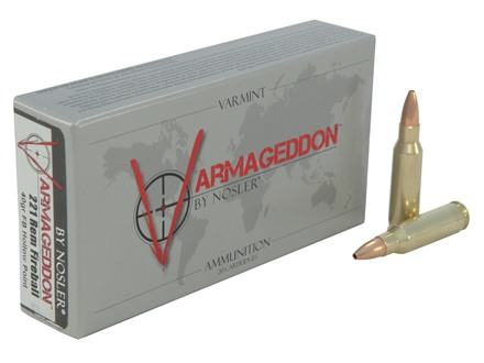 Nosler Varmageddon Ammunition 221 Remington Fireball 40 Grain Hollow Point Flat Base Box of 20