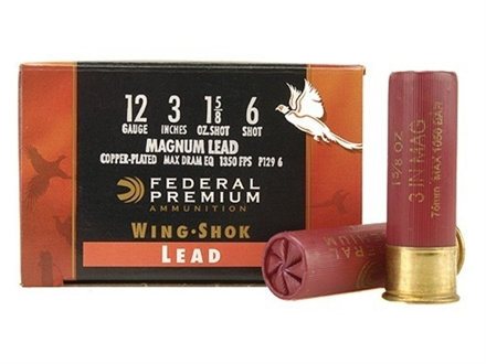 Federal Premium Wing-Shok Ammunition 12 Gauge 3&quot; 1-5/8 oz Buffered #6 Copper Plated Shot Box of 25
