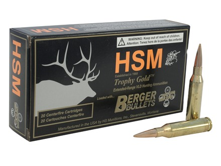 HSM Trophy Gold Ammunition 260 Remington 130 Grain Berger Hunting VLD Hollow Point Boat Tail Box of 20