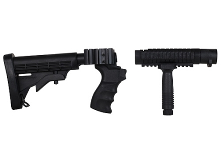 ProMag 6-Position Collapsible Buttstock Set with Pistol Grip, Tri-Rail Forend & Vertical Forend Grip Mossberg 500, 590 12 Gauge Synthetic Black
