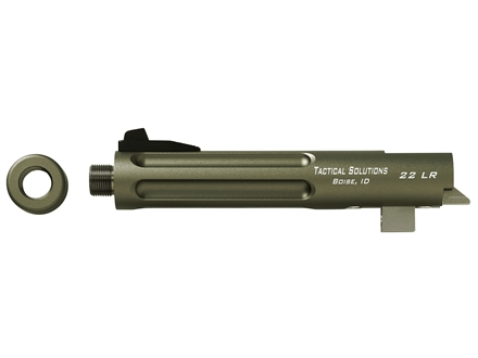 "Tactical Solutions Trail-Lite Barrel Browning Buck Mark 22 Long Rifle 1 in 16"" Twist 5-1/2"" Fluted Aluminum Threaded Muzzle Matte Olive Drab Green"