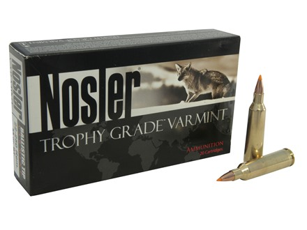 Nosler Trophy Grade Ammunition 22-250 Remington 55 Grain Ballistic Tip Varmint Spitzer Box of 20