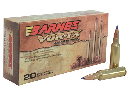 Barnes VOR-TX Ammunition 300 Winchester Short Magnum (WSM) 150 Grain Tipped Triple-Shock X Bullet Boat Tail Lead-Free Box of 20