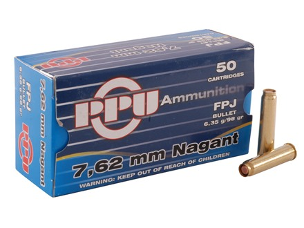 Prvi Partizan Ammunition 7.62mm Russian Nagant (7.62x38mmR) 98 Grain Full Metal Jacket Flat Point Box of 50