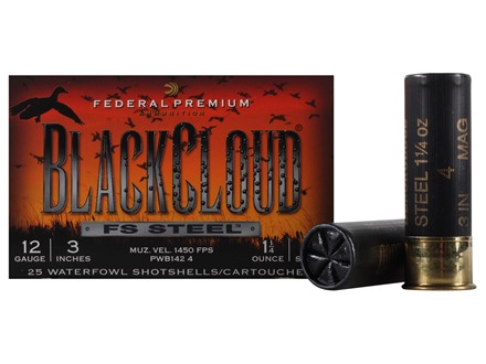 "Federal Premium Black Cloud Ammunition 12 Gauge 3"" 1-1/4 oz #4 Non-Toxic FlightStopper Steel Shot Box of 25"