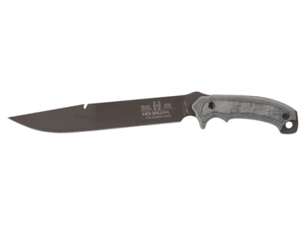 "Buck Hood 060 Hoodlum Fixed Blade Survival Knife 10"" Straight Clip Point 5160 High Carbon Steel Powder Coated Blade Micarta Handle Black"