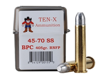 Ten-X Cowboy Ammunition 45-70 Government Single Shot 405 Grain Round Nose Flat Point BPC Box of 20