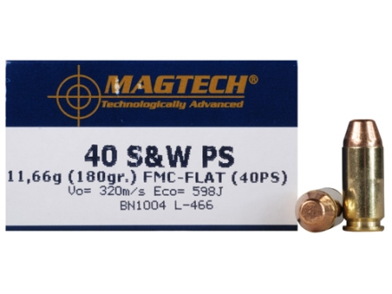 Magtech Sport Ammunition 40 S&amp;W 180 Grain Full Metal Jacket High Velocity Box of 50