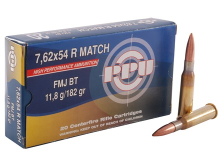 Prvi Partizan Match Ammunition 7.62x54mm Rimmed Russian 182 Full Metal Jacket Box of 20
