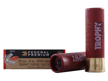 Federal Premium Vital-Shok Ammunition 12 Gauge 3&quot; 300 Grain Trophy Copper Tipped Sabot Slug Lead-Free Box of 5