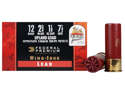 Federal Premium Wing-Shok Quail Forever Ammunition 12 Gauge 2-3/4&quot; 1-1/8 oz #7-1/2 High Velocity Copper Plated Shot Box of 25
