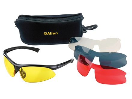 Allen Pro Class Shooting Glasses Black Frame Clear, Yellow, Vermilion and Smoke Lens