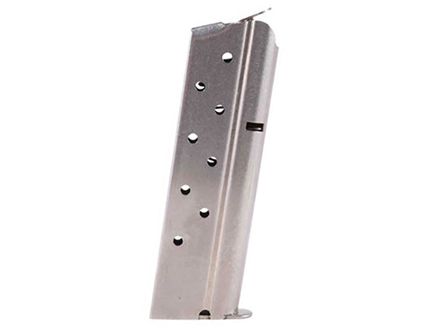 Metalform Magazine 1911 Government, Commander 10mm Auto 8-Round Stainless Steel Matte Round Follower Welded Base